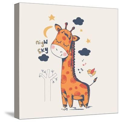 Hand Drawn Vector Illustration of Cute Giraffe Slipping in the Night/Can Be Used for Kid's or Baby'-Eteri Davinski-Stretched Canvas Print
