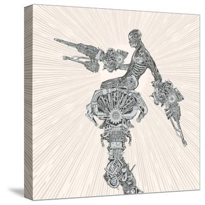 Comic-Book Style Cyborg Hero.-RYGER-Stretched Canvas Print