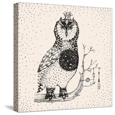 Hand Drawn Owl Illustration-Tasiania-Stretched Canvas Print