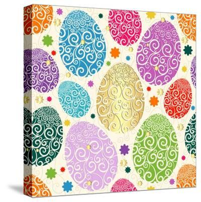 Easter Seamless Pattern with Colorful Painted Eggs Laced (Vector)-Olga Drozdova-Stretched Canvas Print