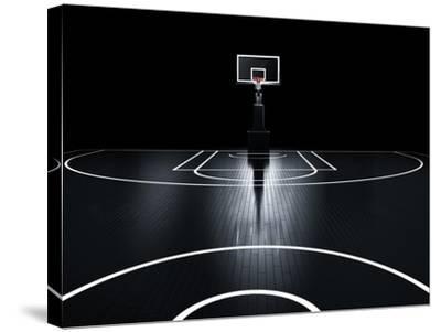 Basketball Court. Photorealistic 3D Illustration of a Sport Arena Background-Serg Klyosov-Stretched Canvas Print