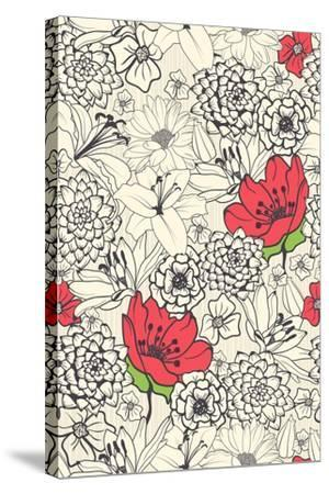 Seamless Floral Pattern with Red Flowers on Monochrome Background- DeMih-Stretched Canvas Print