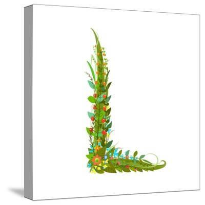 Alphabet Decorative Floral Letter L.-Popmarleo-Stretched Canvas Print