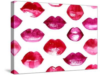 Seamless Vector Pattern with Red Watercolor Lips-Jet-Stretched Canvas Print