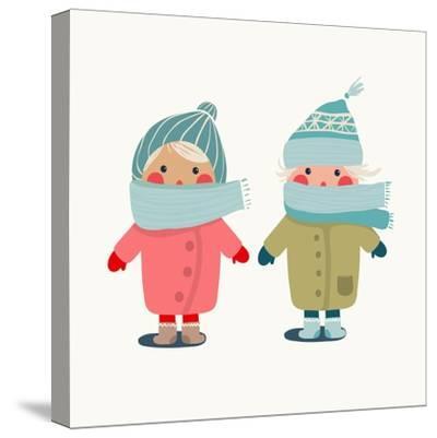 Children in Winter Cloth. Winter Kids Outfit Childish Illustration. Raster Variant.-Popmarleo-Stretched Canvas Print