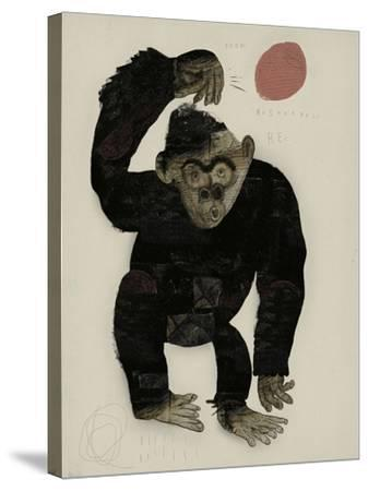 Symbolic Image of a Monkey that Throws a Basketball Ball-Dmitriip-Stretched Canvas Print