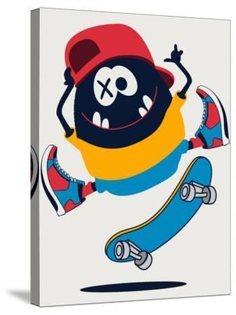 Skater Monster Vector Design- braingraph-Stretched Canvas Print
