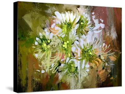 White Chrysanthemum Flowers,Abstract Digital Painting-Tithi Luadthong-Stretched Canvas Print