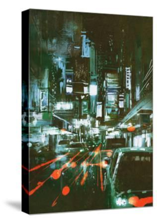 Painting of Car Taillights on a City Street at Night,Illustration-Tithi Luadthong-Stretched Canvas Print