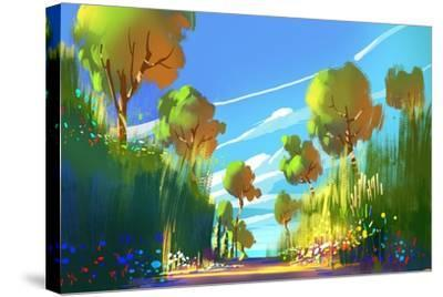 Digital Painting of Colorful Forest and Trees,Nature Green Wood Backgrounds,Illustration-Tithi Luadthong-Stretched Canvas Print