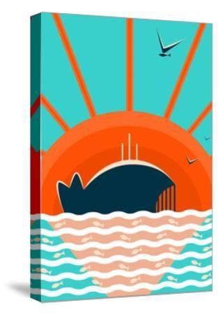 Sea Landscape with Whale Background. Graphic and Bright. Layered Vector Eps8 Illustration.-Popmarleo-Stretched Canvas Print