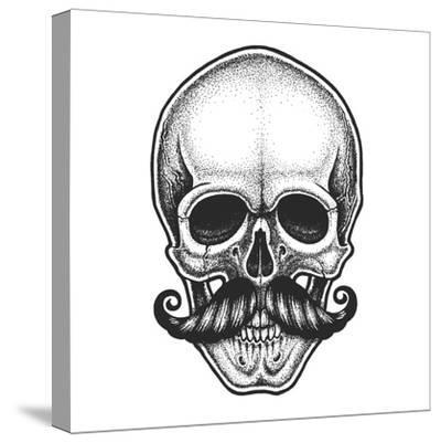 Dotwork Styled Skull with Moustache. Hand Drawn Illustration. T-Shirt Design.- Mr_Bachinsky-Stretched Canvas Print
