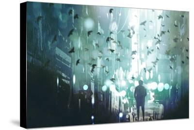 Man Walking in Abandoned City Alley with Flock of Birds,Illustration Painting-Tithi Luadthong-Stretched Canvas Print