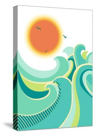 Nature Seascape Poster Background with Sunlight.Vector Color Illustration-Tancha-Stretched Canvas Print