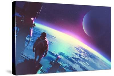 Sci-Fi Concept of the Man Looking at a Surface of the Earth from a Space,Illustration Painting-Tithi Luadthong-Stretched Canvas Print
