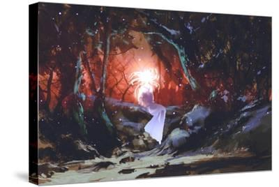 Spirit of the Enchanted Forest,Woman in the Dark Woods,Illustration Painting-Tithi Luadthong-Stretched Canvas Print