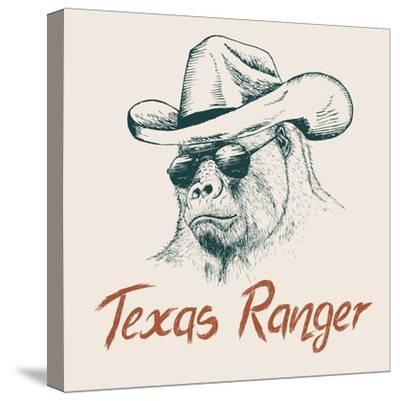 Gorilla like a Texas Ranger Dressed in Sheriff Hat.Prints Design for T-Shirts-Dimonika-Stretched Canvas Print