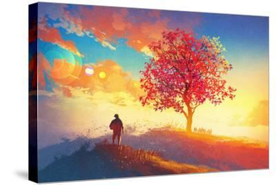 Autumn Landscape with Alone Tree on Mountain,Coming Home Concept,Illustration Painting-Tithi Luadthong-Stretched Canvas Print