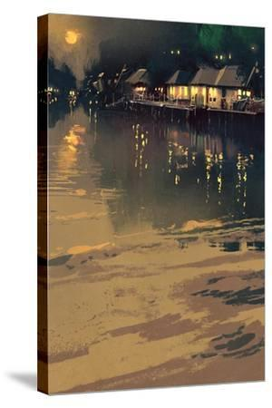 Village beside River,Night Scene Landscape,Illustration-Tithi Luadthong-Stretched Canvas Print