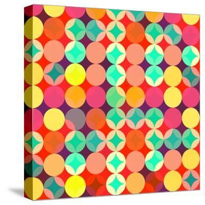 Retro Style Abstract Colorful Background-HAKKI ARSLAN-Stretched Canvas Print