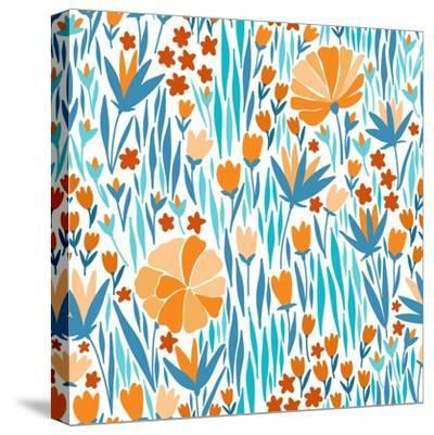 Summer Flower Pattern-Maria_Galybina-Stretched Canvas Print