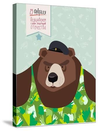 23 February. Bear with Cap. the Vintage Backgrounds. Text in Russian. Congratulations To. Day of De-Top Vector Studio-Stretched Canvas Print