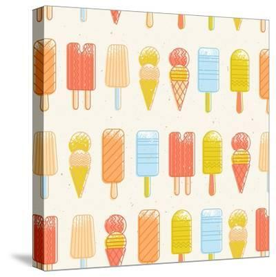 Ice Cream Background. Seamless Pattern. Summer Background. Hipster Illustration. Summer Print. Vect-adehoidar-Stretched Canvas Print