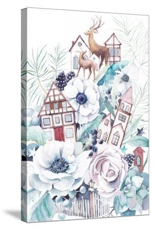 Watercolor Winter Fairytale Illustration. Hand Painted Bouquet with Old Houses, Deers, Anemone Flow-Eisfrei-Stretched Canvas Print