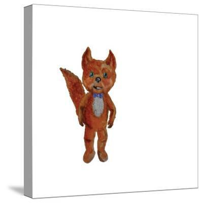 Cartoon Fox Hand Painted Watercolor Illustration Isolated on White Background-ramiia-Stretched Canvas Print