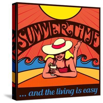 Summertime! Blond Relaxed Girl Sunbathing on a Beach with Waves and Blazing Sun, Vector Poster Desi-durantelallera-Stretched Canvas Print