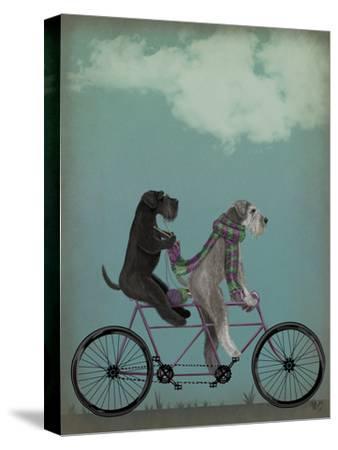 Schnauzer Tandem-Fab Funky-Stretched Canvas Print