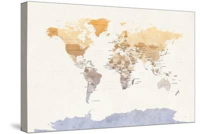 Watercolour Political Map of the World-Michael Tompsett-Stretched Canvas Print