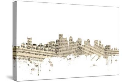 Boston Massachusetts Skyline Sheet Music Cityscape-Michael Tompsett-Stretched Canvas Print