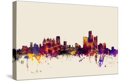 Detroit Michigan Skyline-Michael Tompsett-Stretched Canvas Print