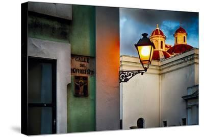 Old San Juan Street Corner With A Cathedral-George Oze-Stretched Canvas Print