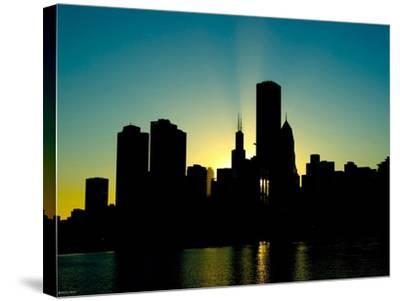 Chicago Skyline Silhouette From Navy Pier-Patrick Warneka-Stretched Canvas Print