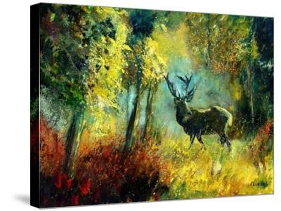 A Stag in the Wood-Pol Ledent-Stretched Canvas Print