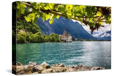 Castle View On Lake Geneva-George Oze-Stretched Canvas Print