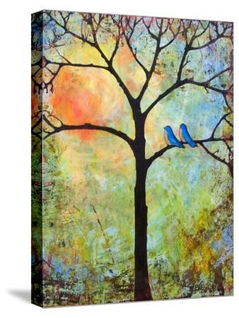 Tree Print Art Birds Sunshine Bluebirds-Blenda Tyvoll-Stretched Canvas Print