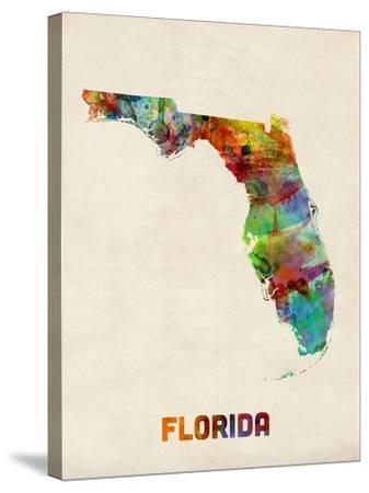 Florida Watercolor Map-Michael Tompsett-Stretched Canvas Print