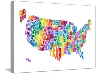 United States Typography Text Map-Michael Tompsett-Stretched Canvas Print
