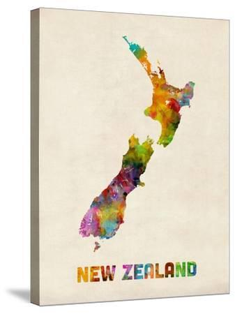 New Zealand, Watercolor Map-Michael Tompsett-Stretched Canvas Print