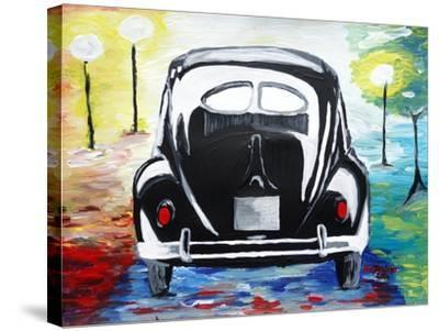Surf VW Bug Series - The Black Volkswagen Bug Split Window-Martina Bleichner-Stretched Canvas Print
