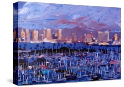 San Diego Skyline with Marina at Dusk-Markus Bleichner-Stretched Canvas Print