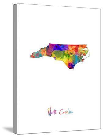 North Carolina Map-Michael Tompsett-Stretched Canvas Print
