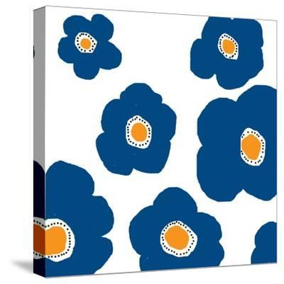 Blue Pop Flowers-Jan Weiss-Stretched Canvas Print