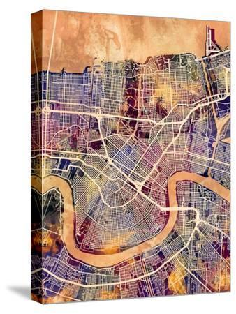 New Orleans Street Map-Michael Tompsett-Stretched Canvas Print