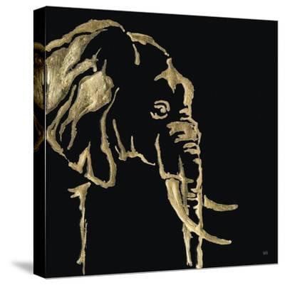 Gilded Elephant on Black-Chris Paschke-Stretched Canvas Print