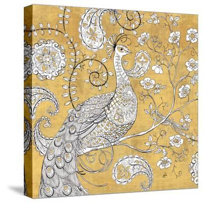 Color my World Ornate Peacock I Gold-Daphne Brissonnet-Stretched Canvas Print