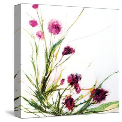 Flowers in the Wind on White-Jan Griggs-Stretched Canvas Print